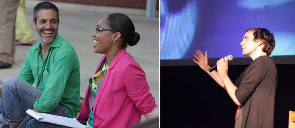 Left: Sam Green (2001 Film/Video grantee) and LaToya Ruby Frazier (2012 Visual Arts grantee) at the Creative Capital Artist Retreat. Right: Creative Capital grantee Cam Archer.