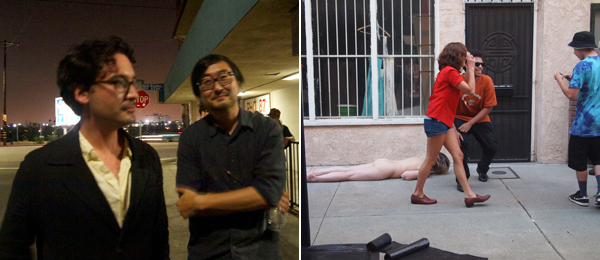 Left: Dealer François Ghebaly and Human Resources cofounder Eric Kim at Human Resources. Right: Kate Gilbert performs Two Less Things to Worry About (Lucy Returns) at Perform Chinatown. (All photos: Christina Catherine Martinez)