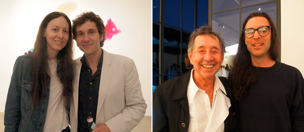 Left: Dealer Maggie Kayne with artist Daniel Knorr. Right: Artists David Lamelas and Paul Sietsema at Kayne Griffin Corcoran.