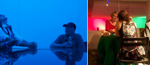 Left: Thierry de Duve in James Turrell's skyspace at Kayne Griffin Corcoran. Right: Niki Korth performing The Tarot of Chance at Human Resources.