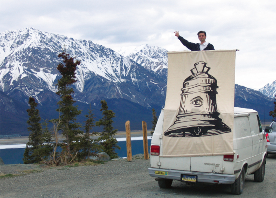 Pablo Helguera during road trip for School of Panamerican Unrest, 2003–, Tok, Alaska, May 19, 2006.
