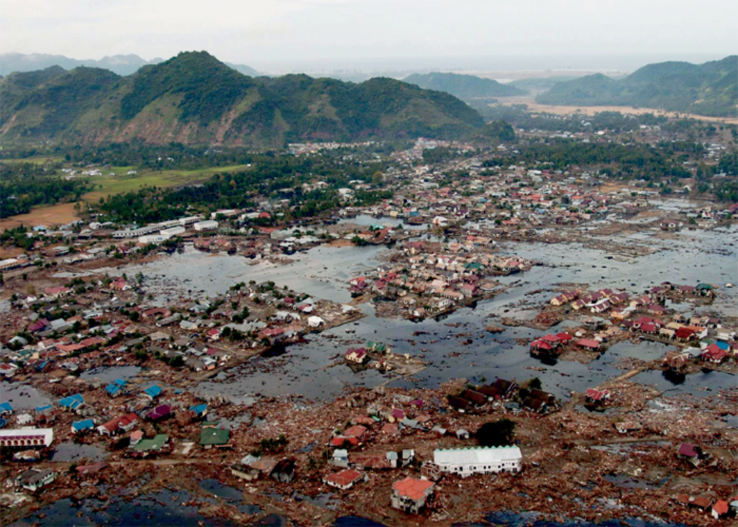Aerial view of destruction caused by tsunami, coast of Sumatra, January 2, 2005. Photo: Philip A. McDaniel/US Navy.