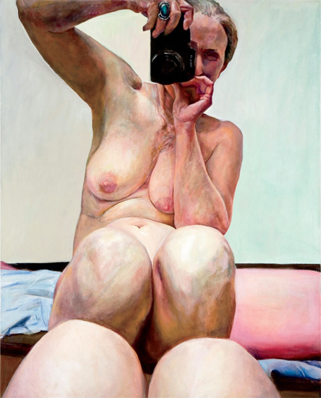 "Joan Semmel, Knees Together, 2003, oil on canvas, 60 x 48"". From the series ""With Camera,"" 2001–2006."