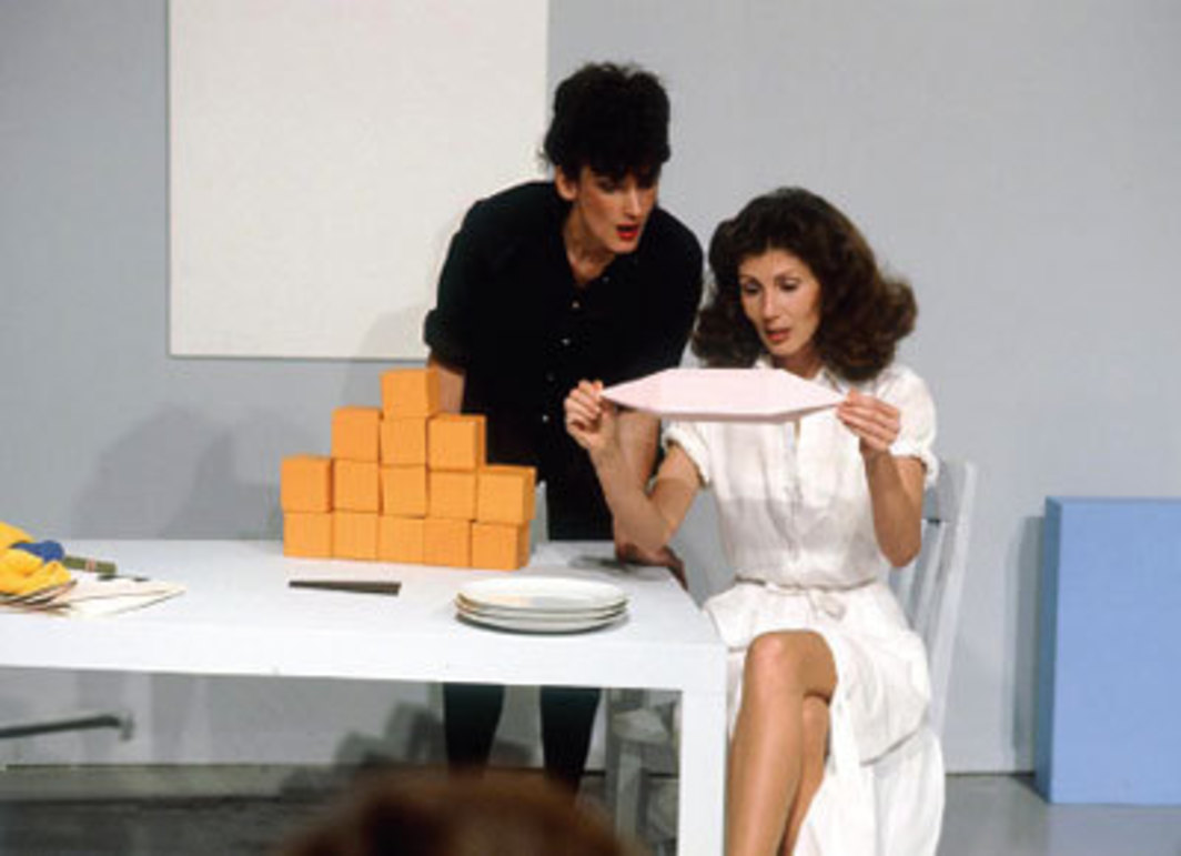 Guy de Cointet, Tell Me, 1979. Performance view, Los Angeles County Museum of Art, 1979. Denise Domergue and Helen Mendez.