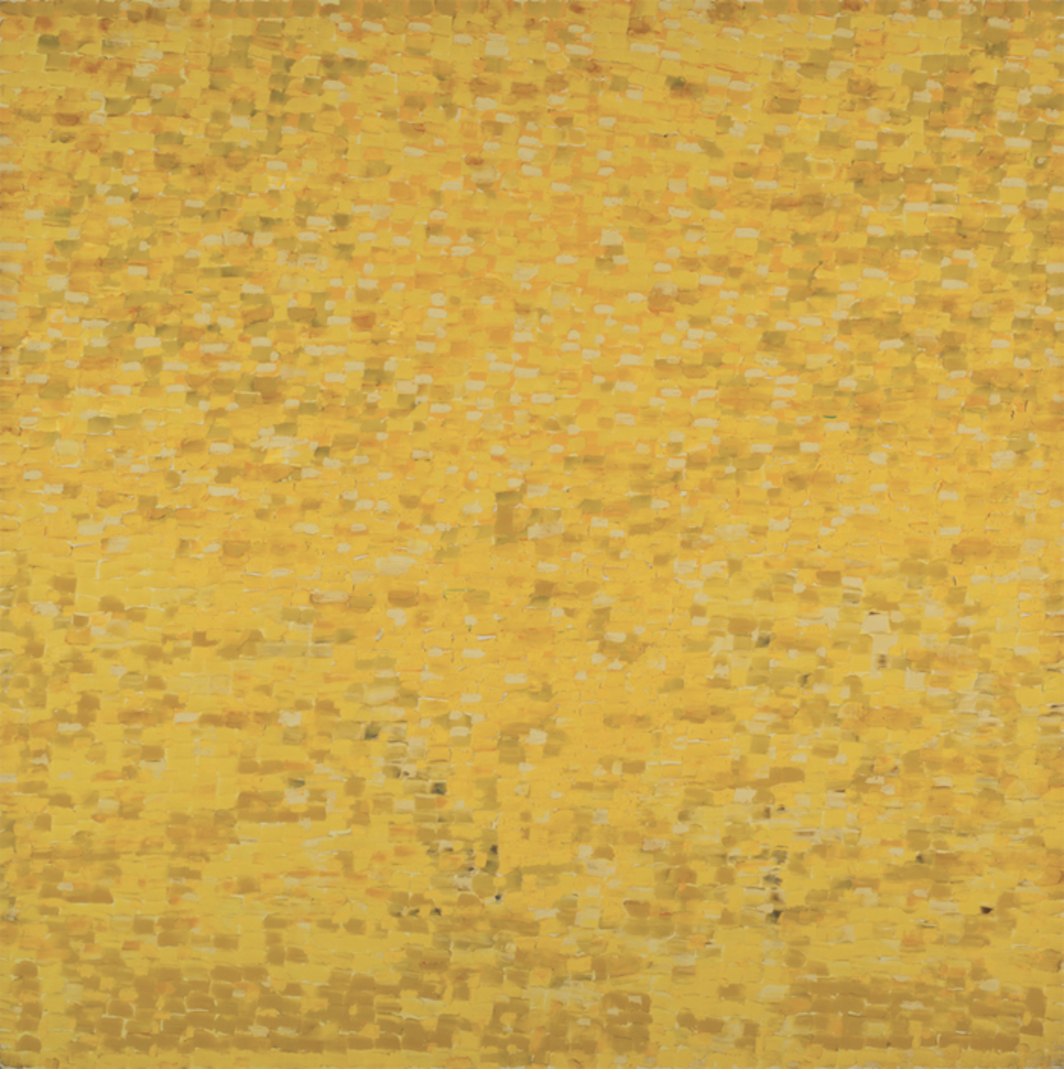 "Shirley Goldfarb, Yellow painting #7, 1968, oil on canvas, 77 x 77""."