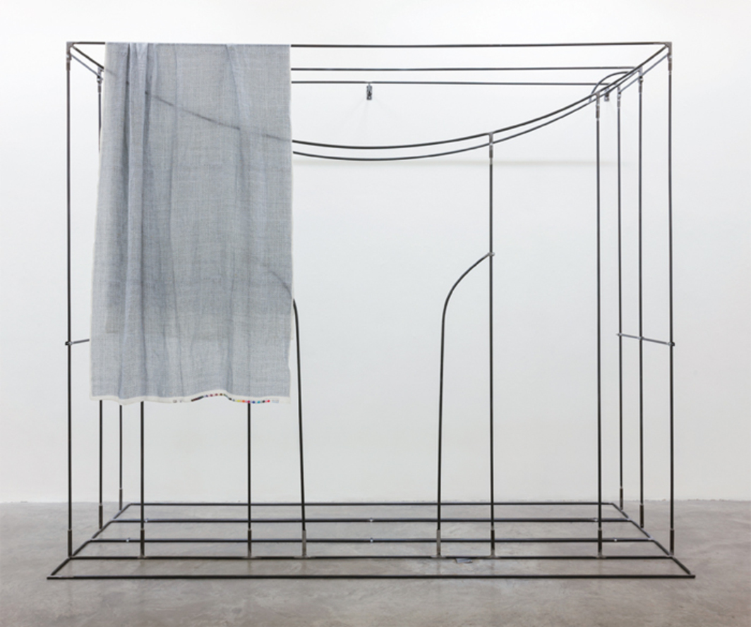 "Aleana Egan, Meanwhile, 2013, steel, fabric, 9' 10 1/8"" x 11' 6"" x 4' 11 1/8""."