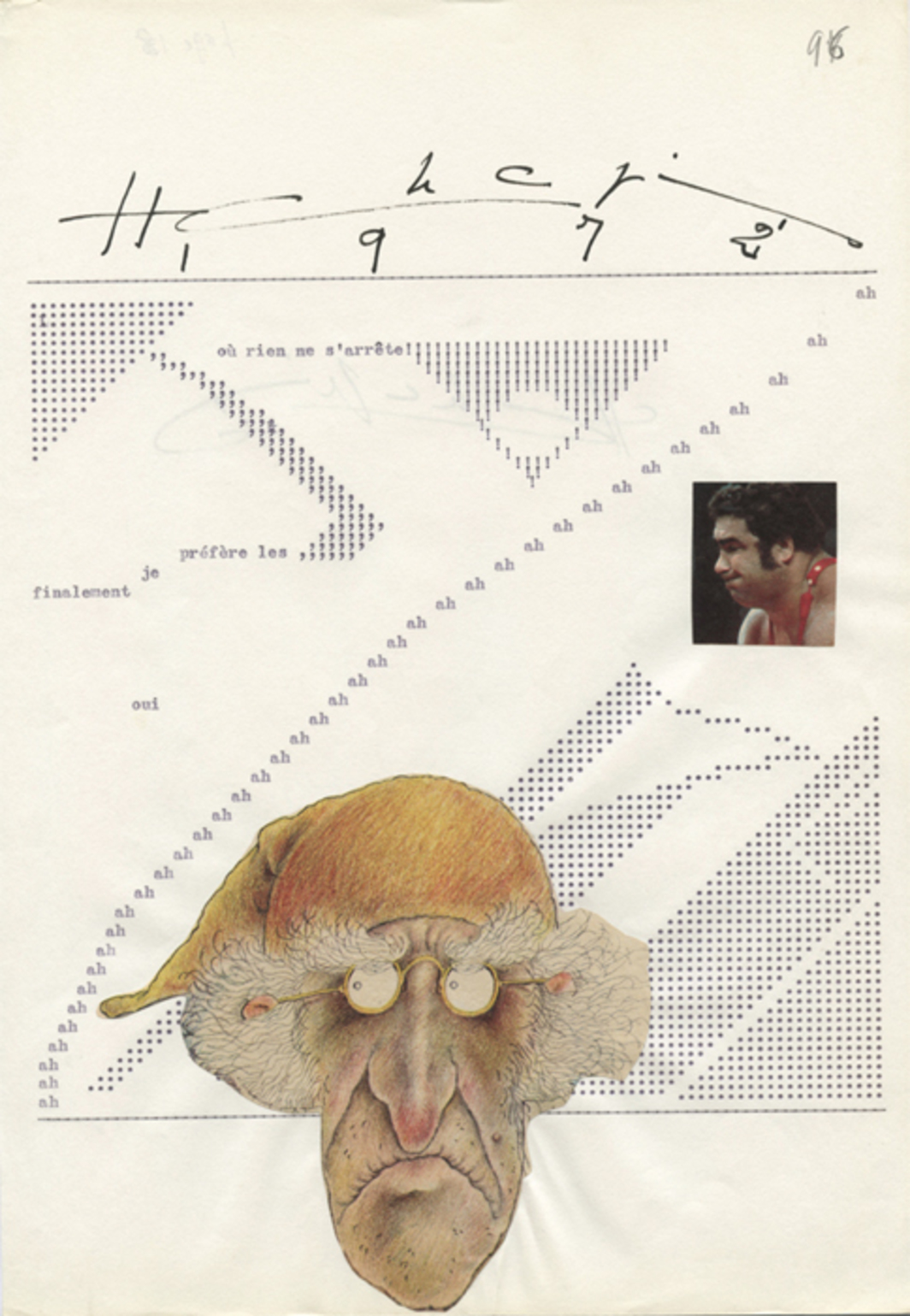"Page 96 from Henri Chopin's La Crevette Amoureuse (The Shrimp in Love), 1967–75, typescript  and collage on paper, 11 1/2 x 8 1/4""."