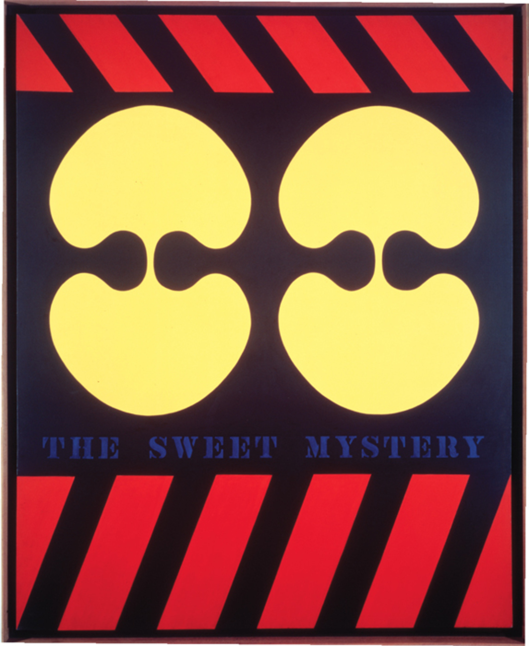 "Robert Indiana, The Sweet Mystery, 1960–62, oil on canvas, 72 x 60""."