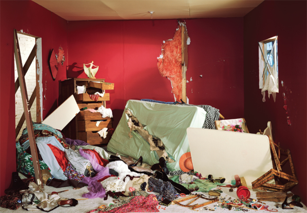 "Jeff Wall, The Destroyed Room, 1978, transparency in light box, 62 5/8 x 92 1/8"". From ""Damage Control: Art and Destruction Since 1950."""