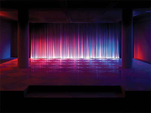 Alona Rodeh, Neither Day nor Night, 2013, wood, Formica, reflective fabric, lights, sound,