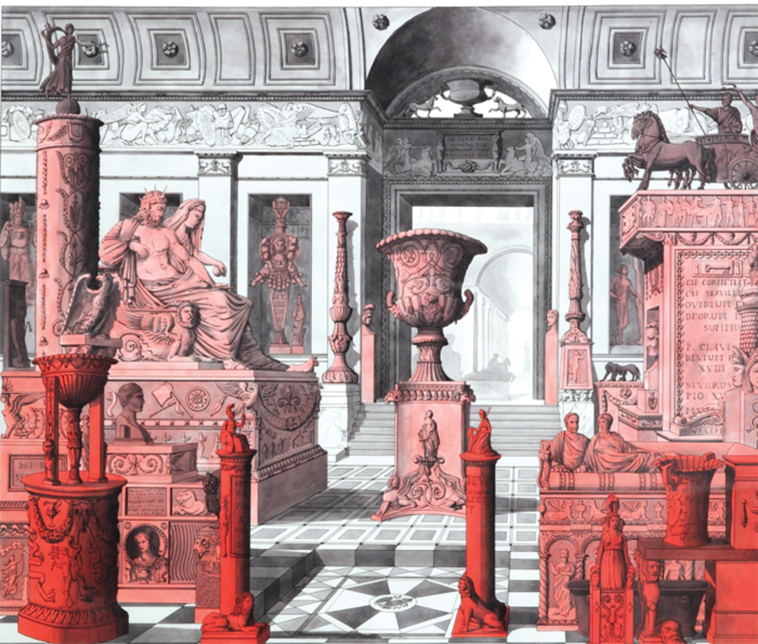 "Pablo Bronstein, Red Objects in a Museum Interior, 2012, ink and watercolor on paper, 43 1/8 x 49""."