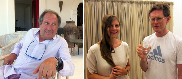 "Left: ""Boss of Stromboli"" retailer Giocchino Letizia. Right: Artists Lucy McKenzie and Alan Michael."