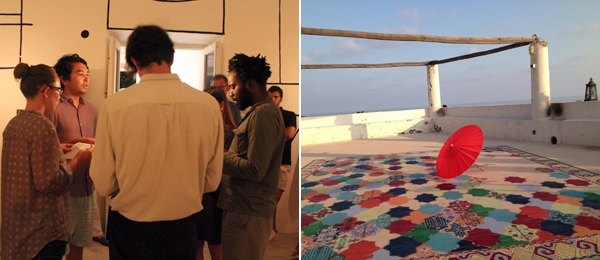 Left: Jason Gomez (2nd from left, center) performing in Volcano Extravaganza 2013. (Photo: Anna Carriel, courtesy Fiorucci Art Trust) Right: Carpet painting by Bernie Reid with parasol by Peter Saville and Anna Blessmann.
