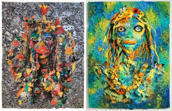 "Left: Ashley Bickerton, m-DNA eve 2, 2013, oil and acrylic on digital print on fiberglass and resin, 71 2/3 x 53 1/2 x 4"". Right: Ashley Bickerton, m-DNA eve 3, 2013, oil and acrylic on digital print on fiberglass and resin, 72 x 53 1/2 x 4""."
