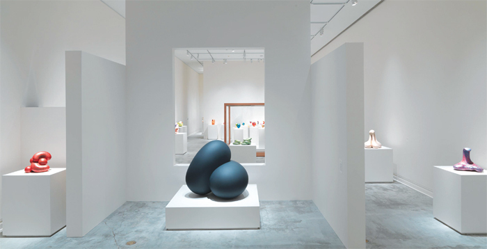 "View of ""Ken Price Sculpture: A Retrospective,"" 2013, Metropolitan Museum of Art, New York. Foreground, from left: Little D, 2011; Ordell, 2011–12;Venus, 2000."