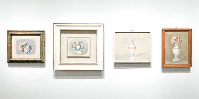 "View of ""Giorgio Morandi: Retrospective,"" 2013, Centre for Fine Arts, Brussels. From left: Fiori (Flowers), 1957; Fiori (Flowers), 1947; Fiori (Flowers), 1947; Fiori (Flowers), 1950. Photo: Philippe De Gobert."