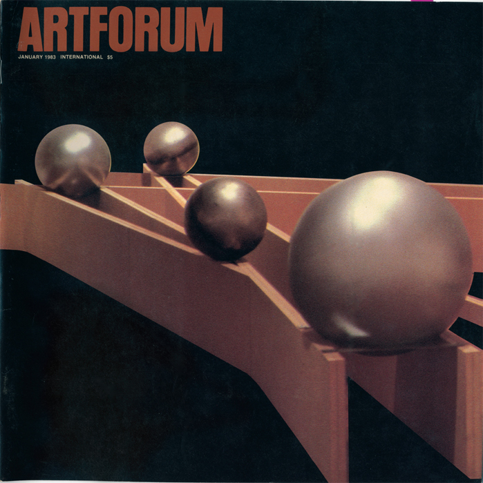 Cover of Artforum 21, no. 5 (January 1983). Barry Le Va, During (Between Imagination and Actuality) (detail), 1982.