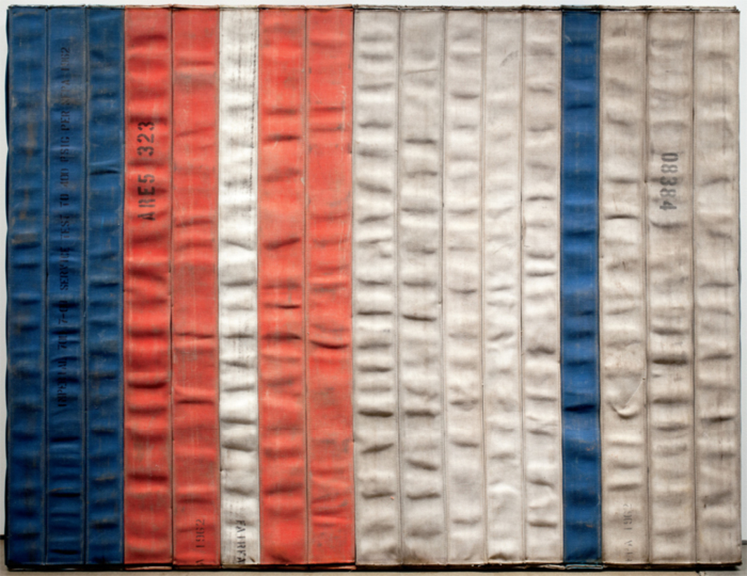 "Theaster Gates, Civil Tapestry, Flag Series, 2012, decommissioned fire hoses, wood, 66 x 84 x 4 1/2"". From the series ""Civil Tapestries,"" 2011–."