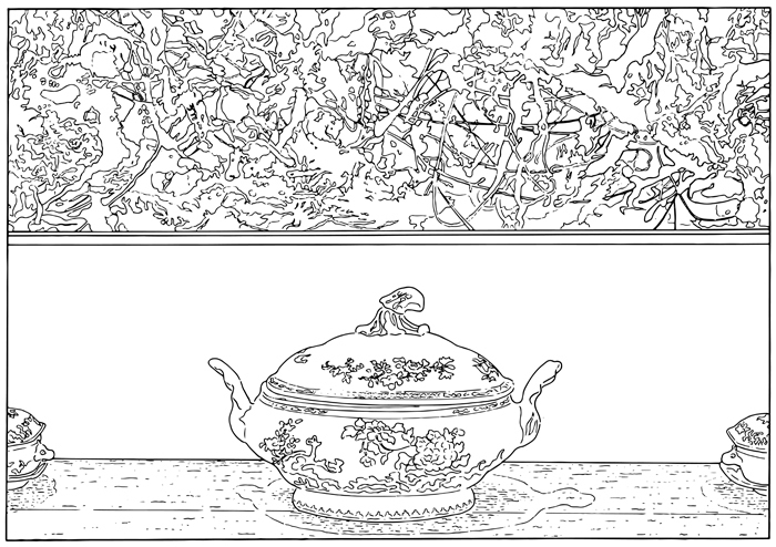 Louise Lawler, Pollock and Tureen (traced), 1984/2013.