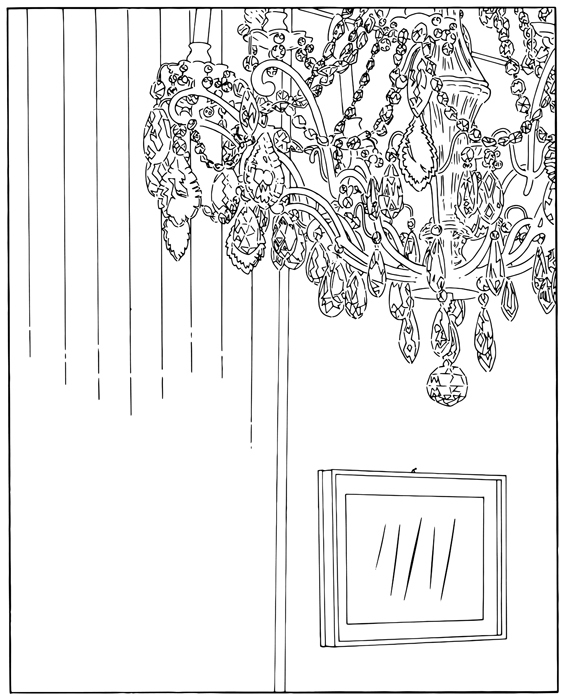 Louise Lawler, Chandelier (traced), 2001/2007/2013.