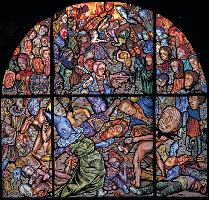 "Judith Schaechter, The Battle of Carnival and Lent, 2011–12, stained glass, 56 x 56 x 2""."