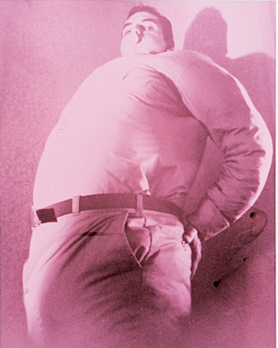 "Jimmy DeSana, Bubblegum (Self-Portrait), 1985, C-print, 16 5/8 x 14 5/8""."