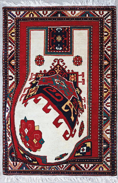 "Faig Ahmed, Ledge, 2011, handmade wool carpet, 59 x 39 1/2""."