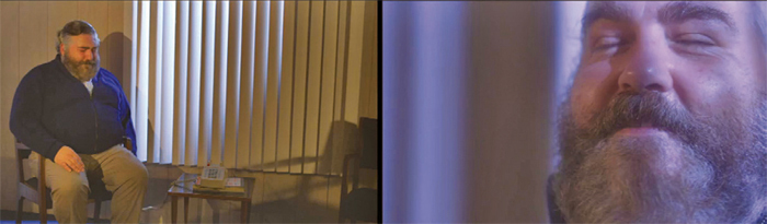 Meredith Danluck, Good News/Bad News, 2013, two-channel HD-video projection, color, sound, 13 minutes 3 seconds.