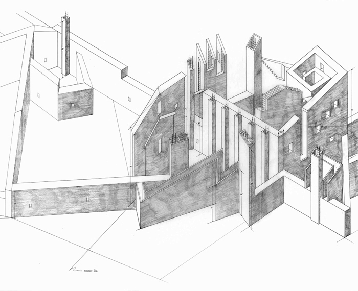 "Alice Aycock, Project Entitled ""The City of the Walls: A Narrow City, a Thin City . . ."", 1978, pencil on vellum, 42 x 72 1/2""."