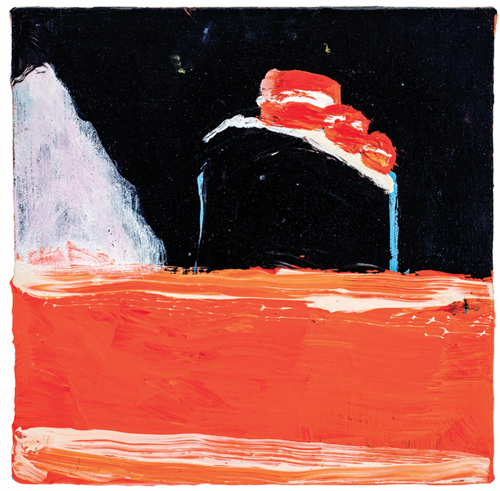 "Katherine Bradford, Titanic Orange Sea, 2012, acrylic on canvas, 10 x 10""."