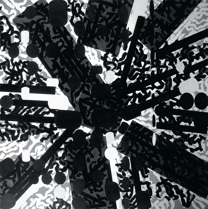 "Barry Le Va, Diagrammatic Silhouettes: Sculptured Activities (Black Stress), 1987, ink on paper collage, 80 x 80""."