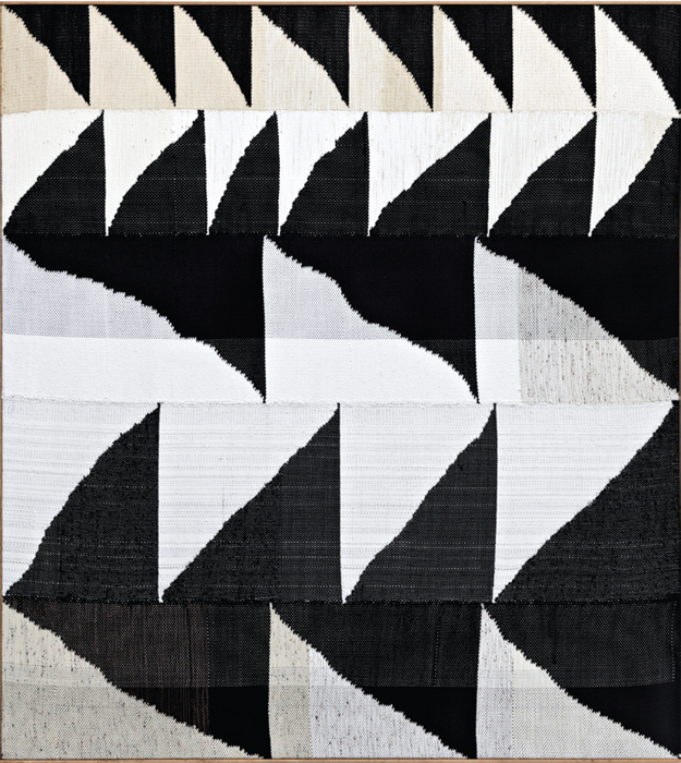 "Brent Wadden, Alignment #21, 2013, hand-woven fibers (wool and cotton) and acrylic on canvas, 80 3/4 x 72 3/4""."