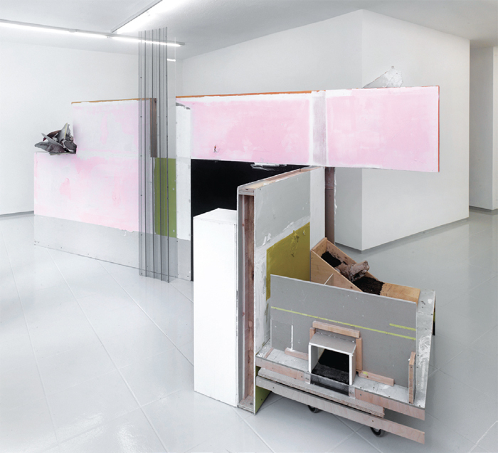 "Felix Schramm, Accumulator 1, 2011–12, drywall, wood, metal, filler, polyurethane, acrylic paint, soil, glass, 98 3/8 x   109 x 54 3/8""."