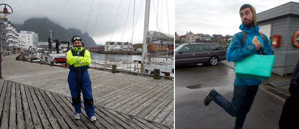 Left: Writer Adam Kleinman in Svolvaer. Right: Artist Pedro Gómez-Egaña.