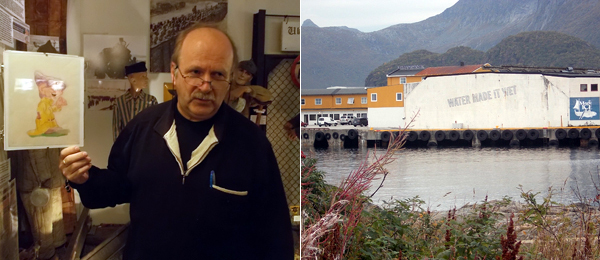 Left: Svolvær's Lofoten War Museum director William Hakvaag with Adolf Hitler's dwarf drawings. Right: Lawrence Weiner's WATER MADE IT WET.