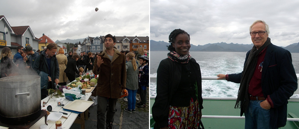 Left: David Horvitz's Stone Soup. Right: Artists Nana Oforiatta Ayim and Gert-Jan Zeestraten.