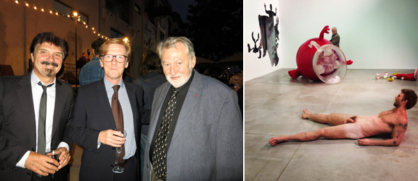 Left: Biennale de Lyon director Thierry Raspail with curator Gunnar Kvaran and Biennale de Lyon president Bernard Faivre d'Arcier. (Photo: Linda Yablonsky) Right: A view of Dan Colen's Livin and Dyin, 2013, at the Biennale de Lyon.