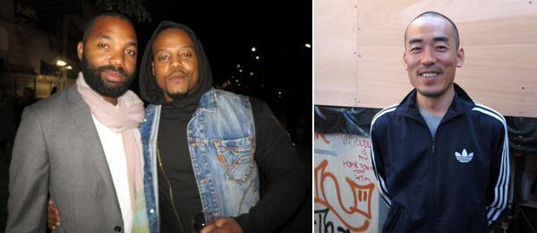 Left: Artists Tavares Strachan and Titus Kaphar. Right: Artist Zhang Ding.