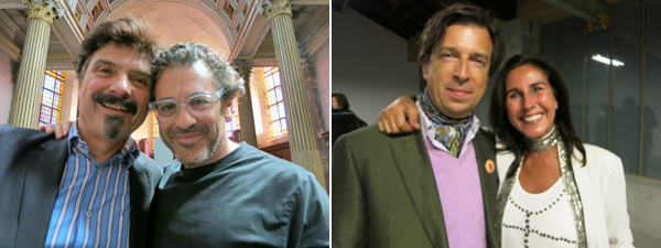 Left: Thierry Raspail with artist Tom Sachs. Right: Collectors Alan Servais and Nathalie Fournier.
