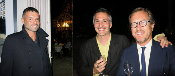 Left: Dealer Daniele Balice. Right: Artist Jason Dodge with dealer Franco Noero.
