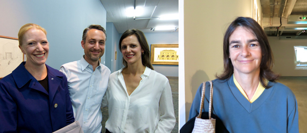 Left: Writer Kirsty Bell, artist Pablo Bronstein, and Tate Modern curator Catherine Wood. Right: Dealer Cornelia Grassi.