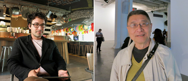 Left: Dealer François Ghebaly. Right: Artist David Diao.