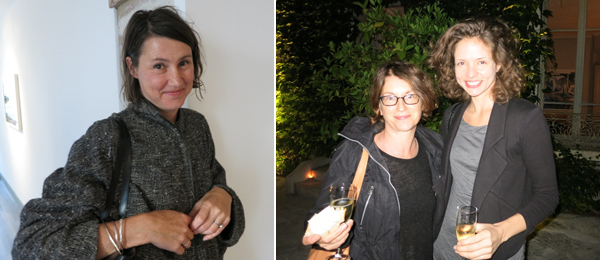 Left: Dealer Liz Mulholland. Right: Dealer Susanne Vielmetter and Vielmetter Gallery exhibition director Sasha Drosdick.