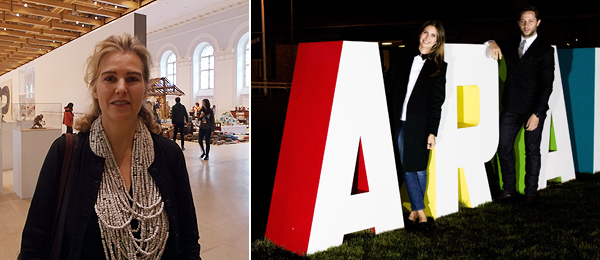 Left: Moscow Biennale curator Catherine de Zegher. (Except where noted, all photos: Kate Sutton) Right: Garage Center for Contemporary Culture founder Dasha Zhukova with Derek Blasberg. (Photo: Nikolay Zverkov)