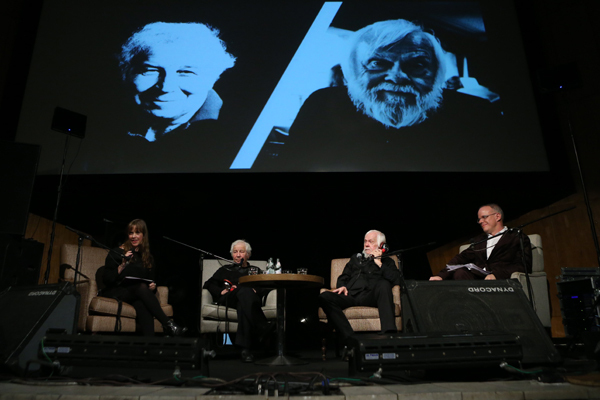 Left: Garage Center for Contemporary Culture chief curator Kate Fowle with artists Ilya Kabakov and John Baldessari and Serpentine chief curator Hans Ulrich Obrist. (Photo: Nikolay Zverkov)