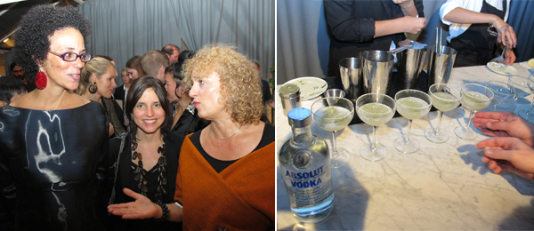 "Left: Art writing winner Coco Fusco, art award winner Renata Lucas, and Absolut Art Award jury president Carolyn Christov-Bakargiev. Right: Absolut ""Nature Bites"" cocktails. (All photos: Frank Expósito)"
