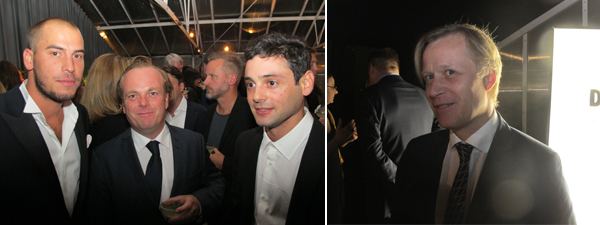 Left: Artist Jonathan Hirschfeld, Elastic Gallery director Ola Gustafsson, and Galleri Niklas Belenius director Niklas Belenius. Right: Kunsthal Charlottenborg director and Absolut Art Award nominator Jacob Fabricius.