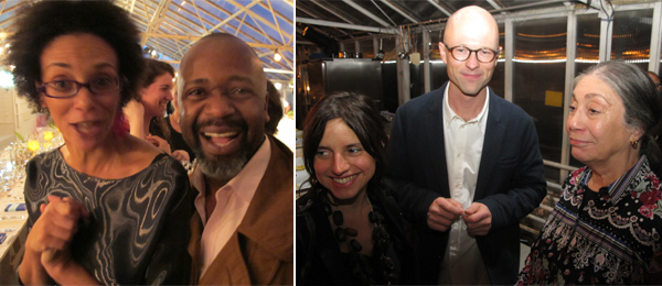Left: Art writing winner Coco Fusco with art finalist Theaster Gates. Right: Art award winner Renata Lucas, art writing finalist Lars Bang Larsen, and Absolut Art Award jury member Susan Hiller.
