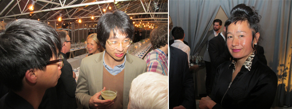 Left: Artist Nadim Abbas with 2013 Absolut Art bar designer Adrian Wong. Right: Art writing finalist Hito Steyerl.