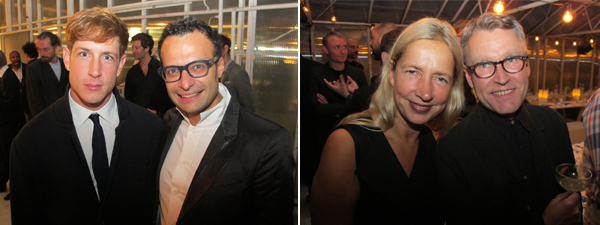Left: Artist and Absolute bar designer Jeremy Shaw with Pernod Ricard marketing director Vadim Grigiorian. Right: Whitechapel Gallery director Iwona Blazwick and artist Matts Leiderstam.